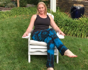 Tall Twilight Turquoise Tie Dye Yoga Pants including Extra Long and Plus Sizes by Splash Dye Activewear