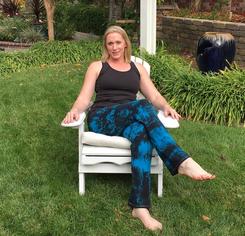 Tall 34  Twilight Turquoise Tie Dye Yoga Pants including Extra Long and Plus Sizes by Splash Dye Activewear