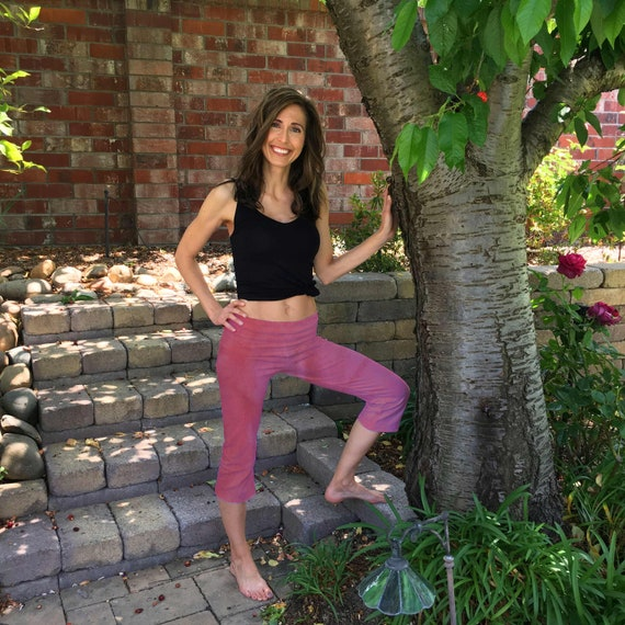 Blush Pink Cropped Yoga Pants Hand Dyed with Optional Painted Design by Splash Dye Activewear sizes XXS-6XL