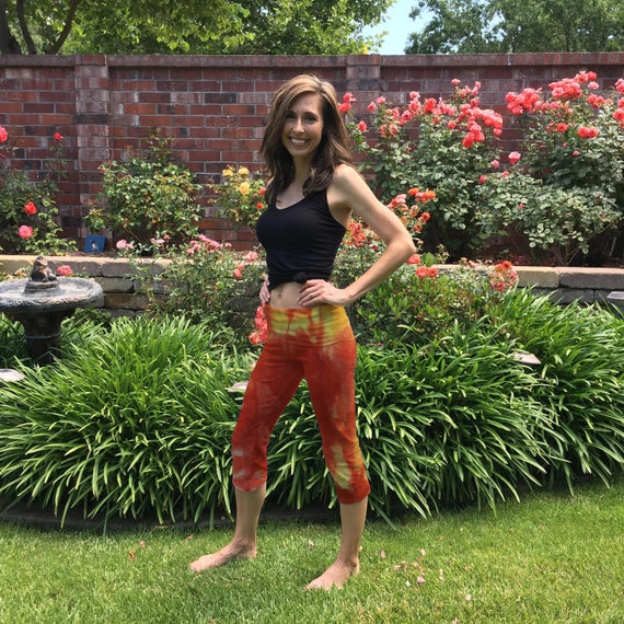 Sunburst Yellow Tie Dye Crop Yoga Pants in Sizes XXS-6XL Hand Dyed in the USA by Splash Dye Studio (Choose your own length)