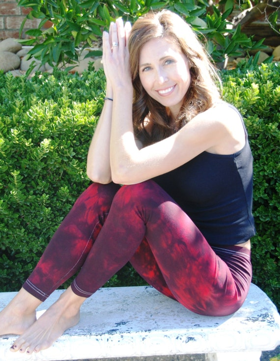 "Tall 33"" Twilight Red Tie Dye Yoga Leggings including Extra Long and Plus Size by Splash Dye Activewear"