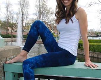 Tall Cosmic Blue Tie Dye Leggings Including Extra Long and Plus Sizes by Splash Dye Activewear