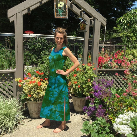 Maxi Dress in Blue Green Fern Tie Dye Cotton Summer Dress. Great for the Beach after Yoga or Vacation Sizes XXS-6XL Hand Dyed in the USA