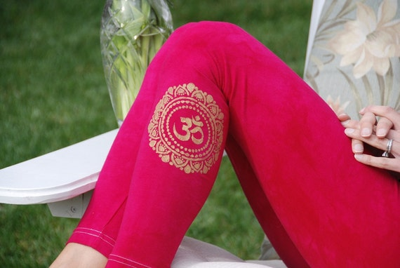 "Tall 33"" Pink Hand Dyed Yoga Leggings with Optional Hand Painted Chakra Design including Extra Long and Plus Sizes by Splash Dye Activewear"