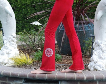Tall Red Hand Dyed Yoga Pants with Optional Hand Painted Chakra Design including Extra Long and Plus Sizes by Splash Dye Activewear
