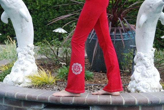 "Tall 34""  Red Hand Dyed Yoga Pants with Optional Hand Painted Chakra Design including Extra Long and Plus Sizes by Splash Dye Activewear"