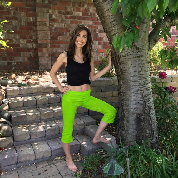 Lime Green Cropped Yoga Pants Hand Dyed with Optional Painted Design by Splash Dye Studio sizes XXS-6XL