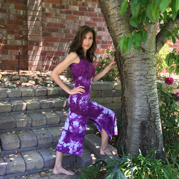 Maxi Dress in Orchid Purple Tie Dye Cotton Summer Dress. Great for the Beach after Yoga or Vacation Sizes XXS-6XL Hand Dyed in the USA