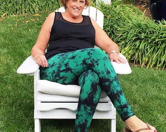 Tall Leggings Extra Long Tie Dye Yoga Leggings for Tall Women by Splash Dye Activewear in Choice of Twilight Colors and Plus Sizes