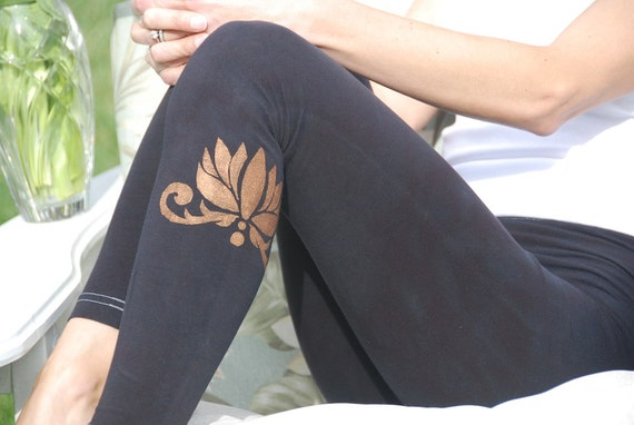 "Black Yoga Leggings Hand Dyed from The ArtiZan Collection with Optional Hand Painted Design 30"" Inseam"