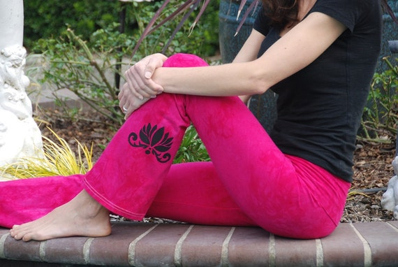 "Pink Yoga Pants 32"" inseam Hand Dyed from The ArtiZan Collection with Optional Hand Painted Design Including Plus Sizes"