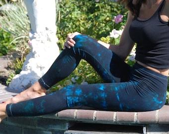"Twilight Turquoise Tie Dye Yoga Leggings 30"" Inseam"