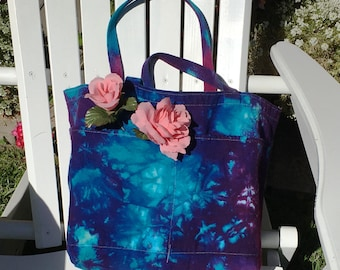 Tote Bag with Pockets Hand Dyed in the USA