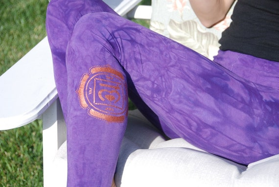 "Purple Yoga Leggings Hand Dyed from The ArtiZan Collection with Optional Hand Painted Design 30"" Inseam"