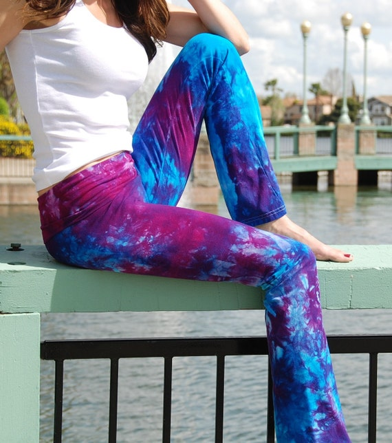 "Purple Tie Dye Yoga Pants 32"" inseam. Sizes XXS-6XL Hand Dyed in the USA by Splash Dye Studio"
