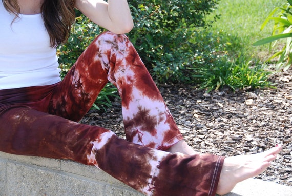 "Chocolate Cinnamon Brown Tie Dye Yoga Pants 32"" inseam. Sizes XXS-6XL Hand Dyed in the USA by Splash Dye Studio"