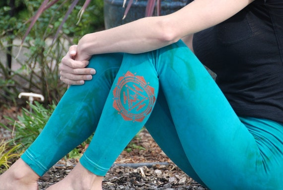 "Green Yoga Leggings Hand Dyed from The ArtiZan Collection with Optional Hand Painted Design 30"" Inseam"