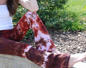 Tall Cosmic Brown Cinnamon Tie Dye Yoga Pants Including Extra Long and Plus Sizes by Splash Dye Activewear