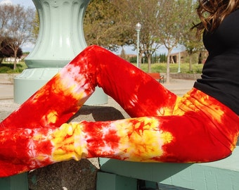 Tall Cosmic Red Yellow Tie Dye Yoga Pants Including Extra Long and Plus Sizes by Splash Dye Activewear