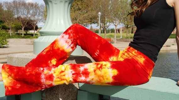 "Tall 34""  Cosmic Red Yellow Tie Dye Yoga Pants Including Extra Long and Plus Sizes by Splash Dye Activewear"
