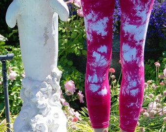 "Raspberry Popsicle Pink Tie Dye Yoga Leggings 30"" Inseam"