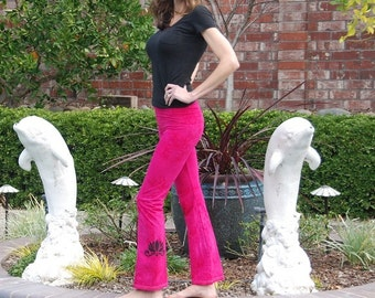 Tall Pink Hand Dyed Yoga Pants with Optional Hand Painted Chakra Design including Extra Long and Plus Sizes by Splash Dye Activewear