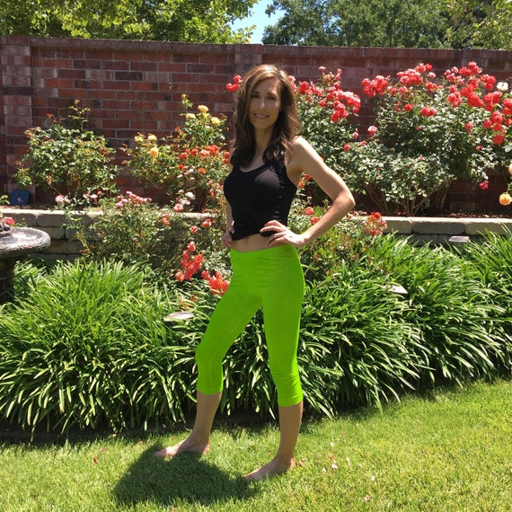 Lime Green Hand Dyed Crop Yoga Leggings by Splash Dye Studio in Sizes XXS-6XL (Choose your own length)