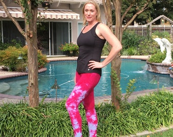 Tall Leggings Extra Long Tie Dye Yoga Leggings for Tall Women by Splash Dye Activewear in Choice of Cosmic Colors and Plus Sizes