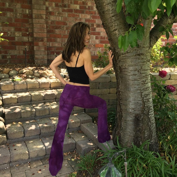 "Orchid Purple Yoga Pants 32"" inseam Hand Dyed from The ArtiZan Collection with Optional Hand Painted Design Sizes XXS-6XL"