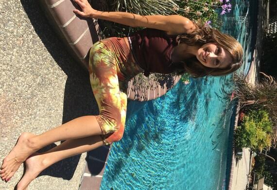 Earth Green Orange Crop Leggings Including Plus Sizes by Splash Dye Activewear (Choose your own length)