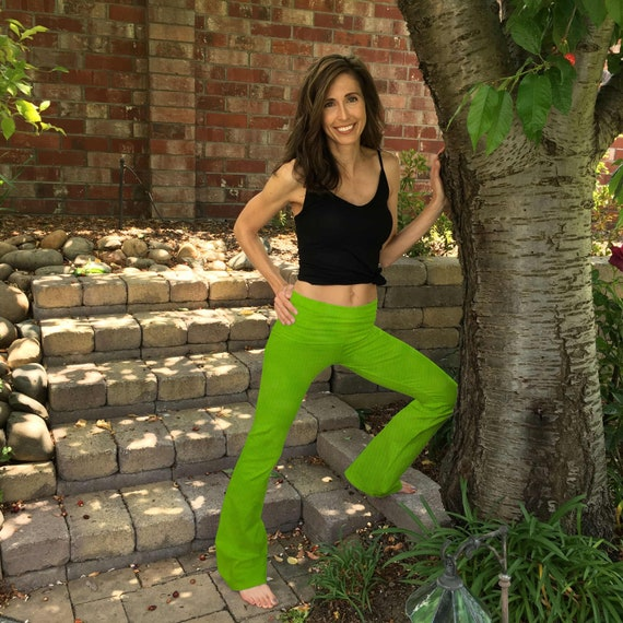 "Lime Green Blossom Yoga Pants 32"" inseam Hand Dyed from The ArtiZan Collection with Optional Hand Painted Design Sizes XXS-6XL"
