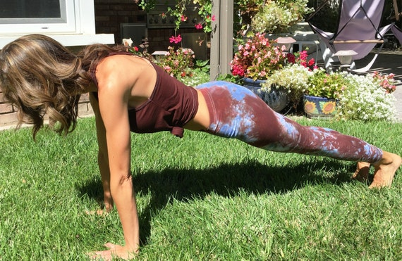 "Tall 33"" Earth Brown Sky Blue Tie Dye Yoga Leggings Including Extra Long and Plus Sizes by Splash Dye Activewear"