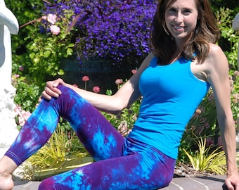 "Purple Tie Dye Yoga Leggings 30"" Inseam"