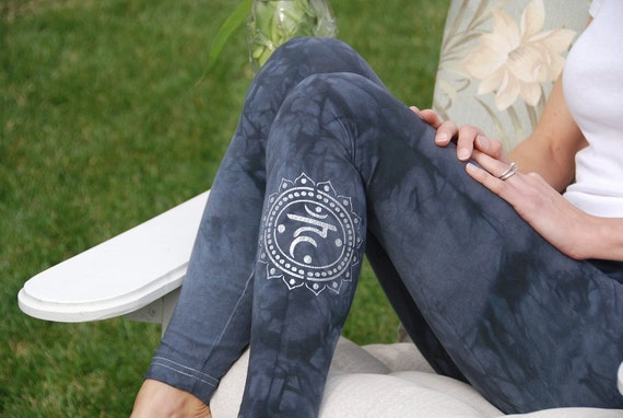 "Tall 33"" Gray Hand Dyed Yoga Leggings with Optional Hand Painted Chakra Design including Extra Long and Plus Sizes by Splash Dye Activewear"