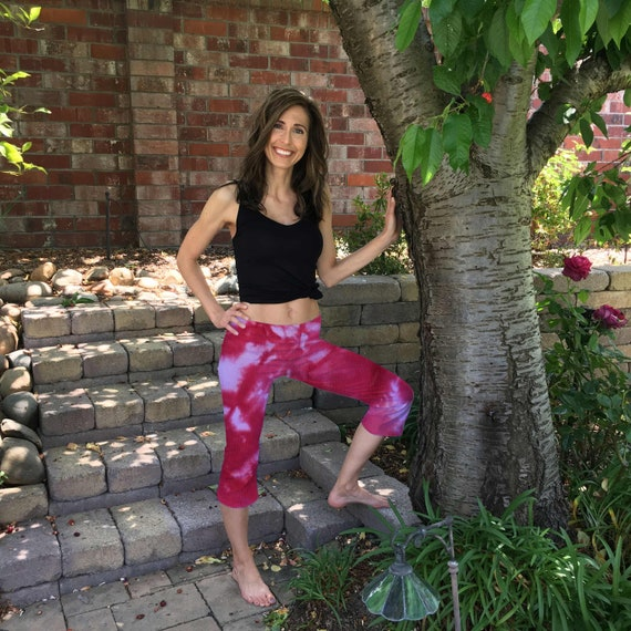 Blush Pink Tie Dye Crop Yoga Pants in Sizes XXS-6XL Hand Dyed in the USA by Splash Dye Studio (Choose your own length)