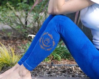 "Blue Yoga Leggings Hand Dyed from The ArtiZan Collection with Optional Hand Painted Design 30"" Inseam"