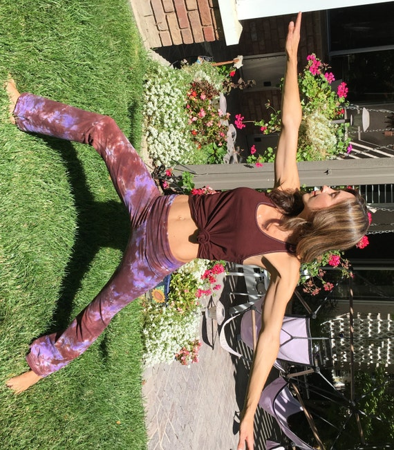 Tall 34inch  Earth Brown Purple Tie Dye Yoga Pants Including Extra Long and Plus Sizes by Splash Dye Activewear