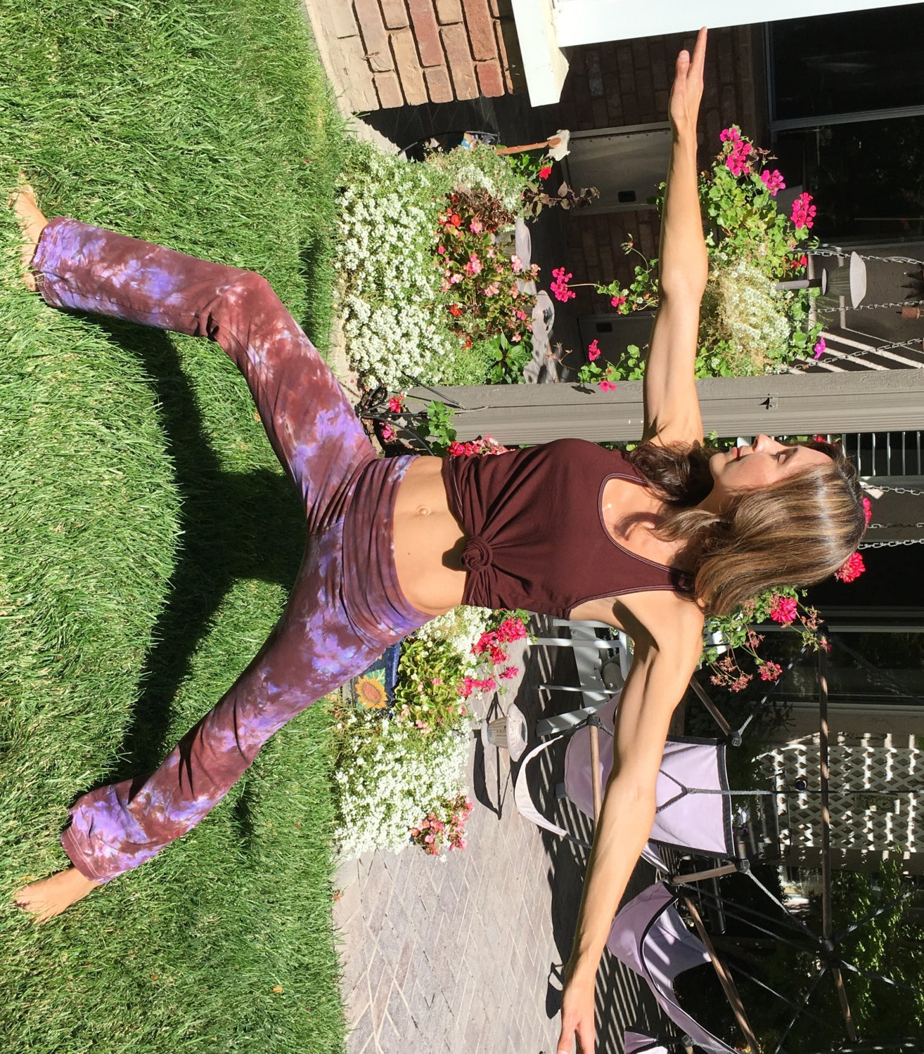 1a40e3245026e Tall 34inch Earth Brown Purple Tie Dye Yoga Pants Including Extra ...