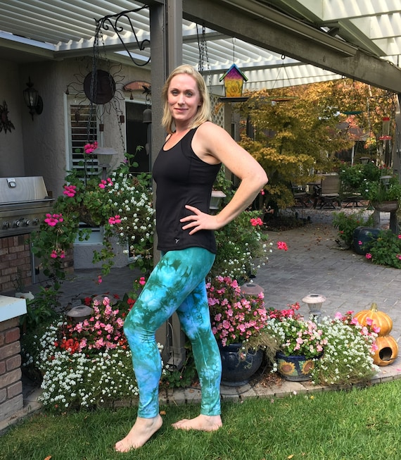 "Tall 33"" Cosmic Green Tie Dye Leggings Including Extra Long and Plus Sizes by Splash Dye Activewear"