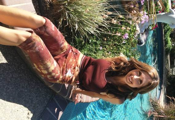 Earth Brown Amber Crop Yoga Pants Including Plus Sizes by Splash Dye Activewear (Choose your own length)