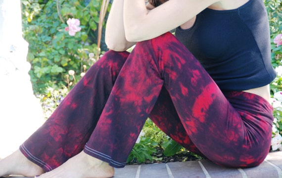 "Twilight Red Tie Dye Yoga Pants 32"" inseam Including Plus Sizes"