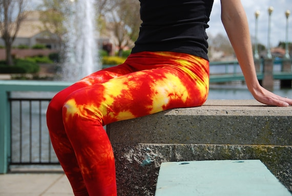 "Cherry Lemon Red and Yellow Tie Dye Yoga Leggings 30"" Inseam. Sizes XXS-6XL Hand Dyed in the USA by Splash Dye Studio"