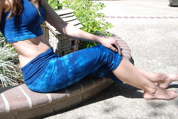 Blue Tie Dye Crop Yoga Pants. Sizes XXS-6XL Hand Dyed in the USA by Splash Dye Studio (Choose your own length)