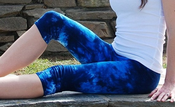 Blue Tie Dye Crop Yoga Leggings Sizes XXS-6XL Hand Dyed in the USA by Splash Dye Studio (Choose your own length)