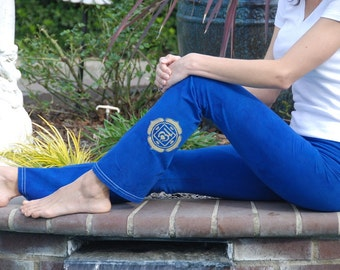 Tall Blue Hand Dyed Yoga Pants with Optional Hand Painted Chakra Design including Extra Long and Plus Sizes by Splash Dye Activewear