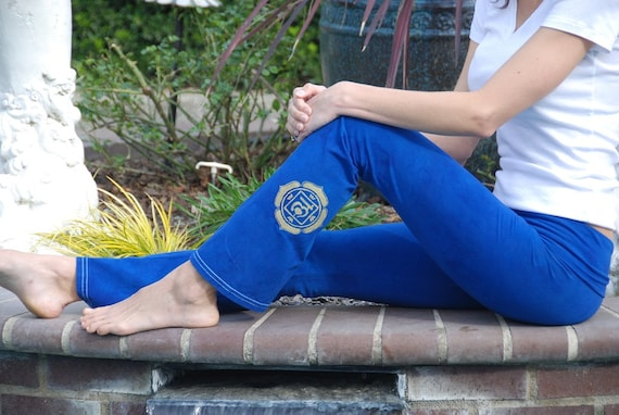 "Tall 34""  Blue Hand Dyed Yoga Pants with Optional Hand Painted Chakra Design including Extra Long and Plus Sizes by Splash Dye Activewear"