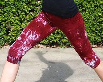 Merlot Burgundy Tie Dye Crop Yoga Leggings by Splash Dye Activewear (Choose your own length)