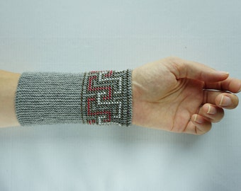 Grey, white and red beaded wrist warmers/ knitted wristlets with beads / woollen cuffs –ready to ship