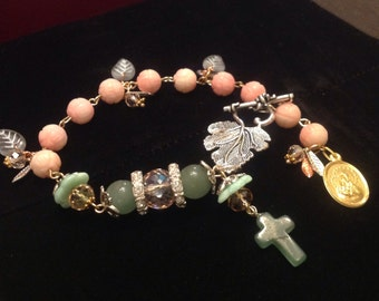 HEY MARY peace beads Limited  Edition by TR Jackson 10k gf stamped vintage medals on  deluxgem Catholic rosary bracelet Czech crystal & box