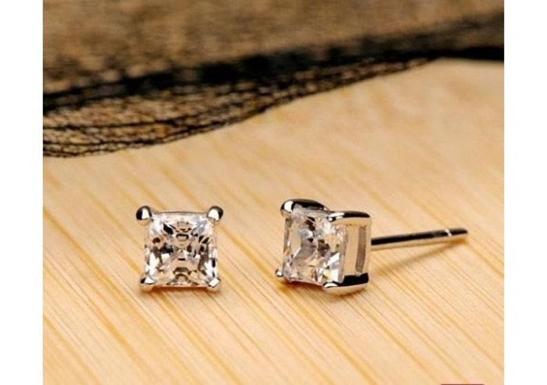 263effe4b 14k Diamond Princess Cut Stud Earrings 4 Prong Setting | Etsy
